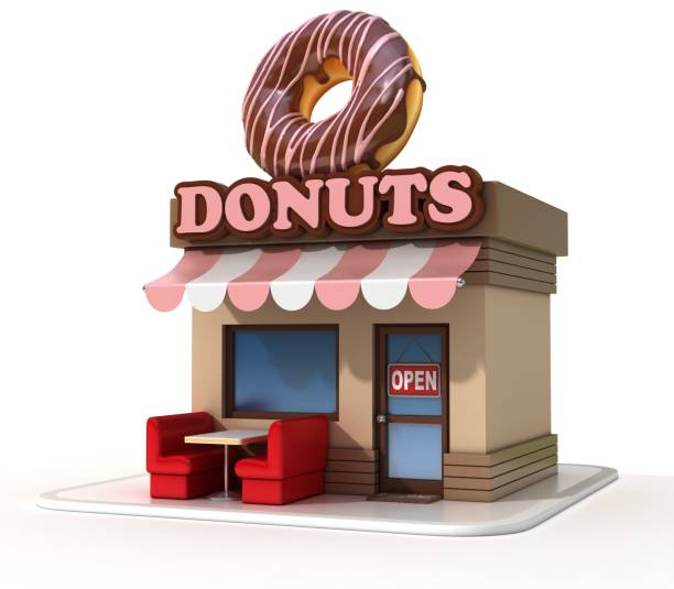 Donuts shop store  on a white background 3d rendering stock photo