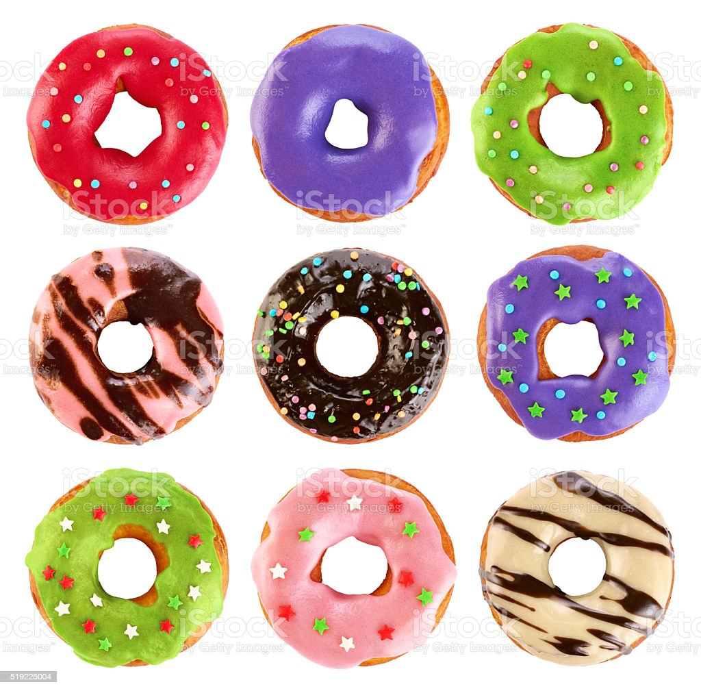 Donuts with colored glaze and chocolate, isolated on white backg stock photo