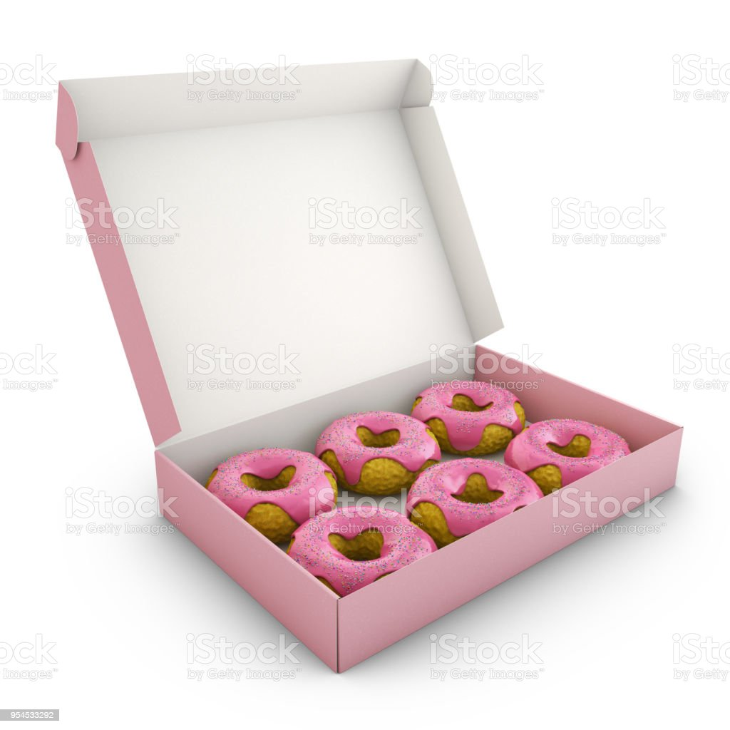 Donuts with pink icing stock photo
