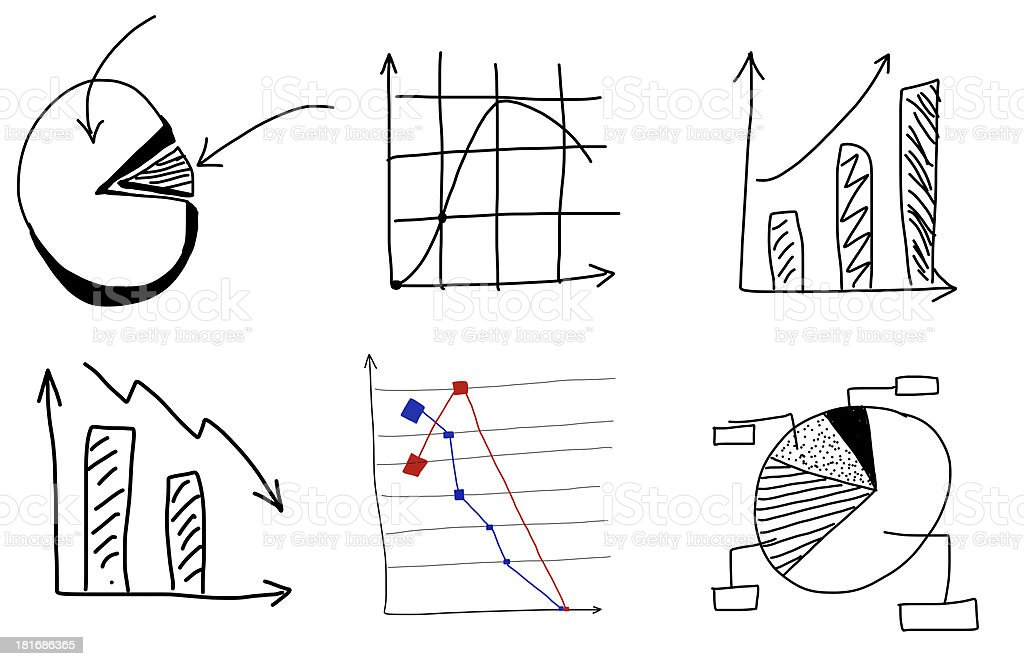Doodle charts by hand royalty-free stock photo