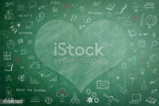 977488078 istock photo Doodle freehand white chalk drawing on green chalkboard with heart copy space for Educational back to school and teacher's day concept 1171611922