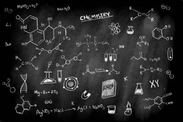 doodle of chemistry formula subject on black chalk board background for education science concept doodle of chemistry formula subject on black chalk board background for education science concept blackboard visual aid stock pictures, royalty-free photos & images