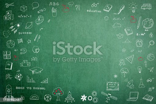 istock Doodle on green school teacher's chalkboard background with blank copyspace for childhood imagination and education success concept 1131900481