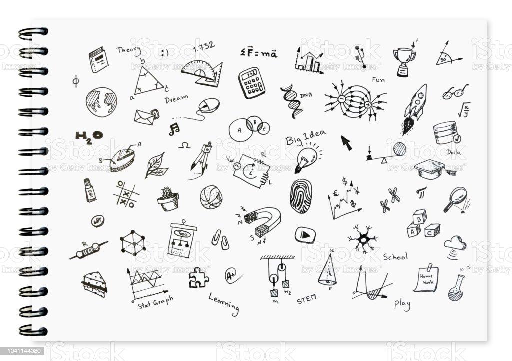 Juego Doodle de escuela relacionadas con artículos, material escolar y herramientas de aprendizaje en el cuaderno blanco con cuaderno encuadernado para el fondo. - Foto de stock de Actividad libre de derechos