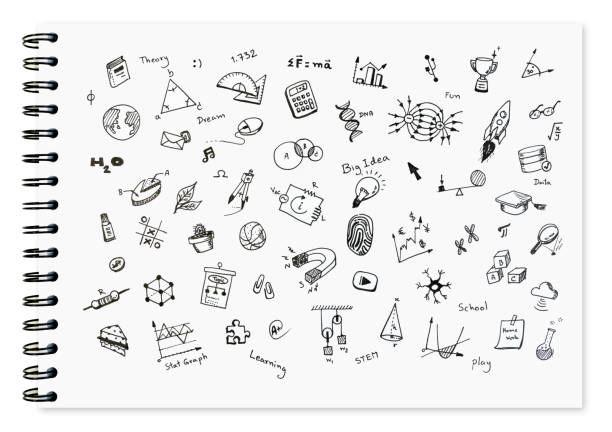 Doodle set of school related items, school equipment and learning tools on white notebook with spiral bound notebook for background. - foto stock