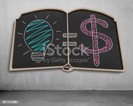 istock Doodles on book shape blackboard 501442881