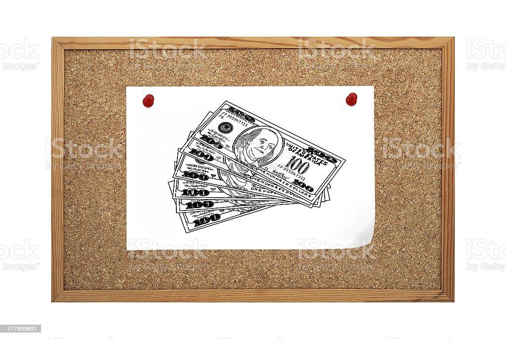 doolar clip to cork board royalty-free stock photo