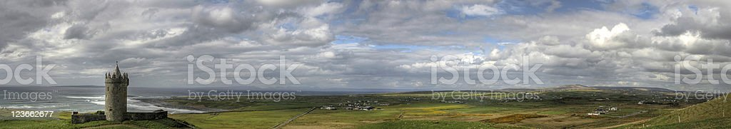 Doolin panoramic with castle stock photo