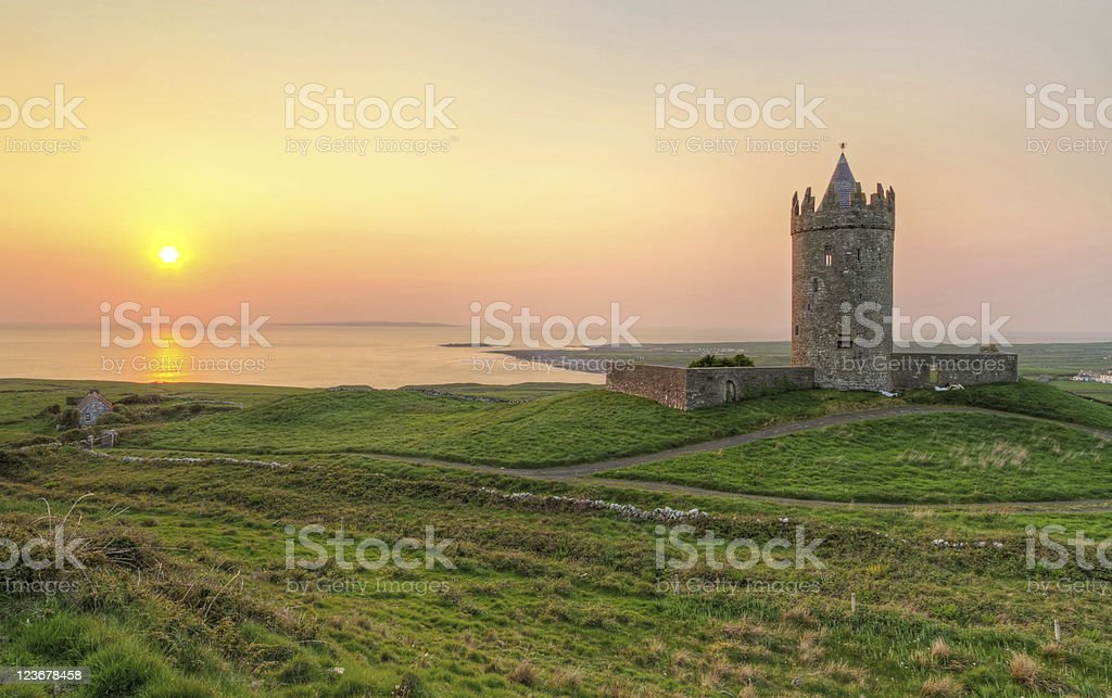 Doonagore castle at sunset stock photo