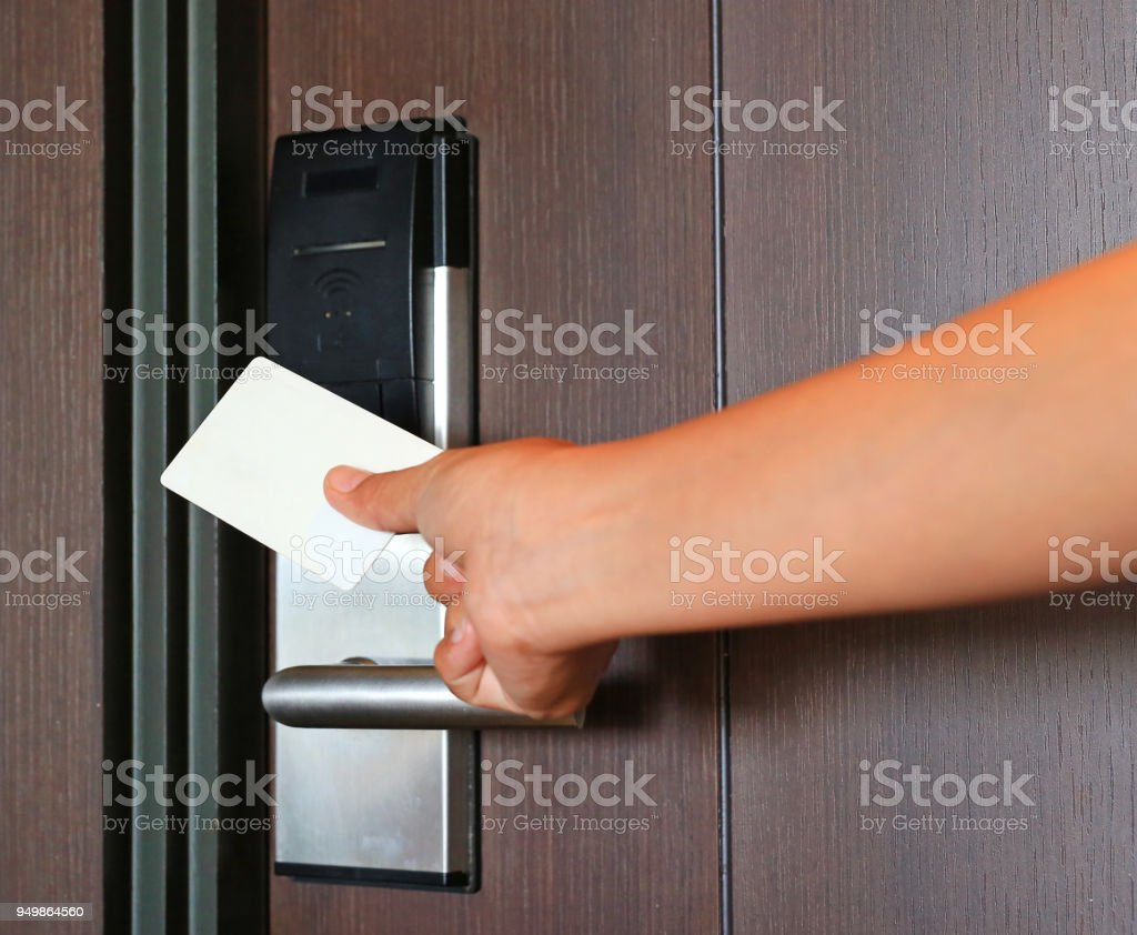 Door Access Control Young Woman Holding A Key Card To Unlock