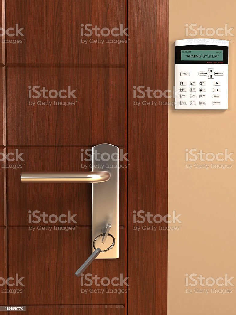 A door and a home security system stock photo