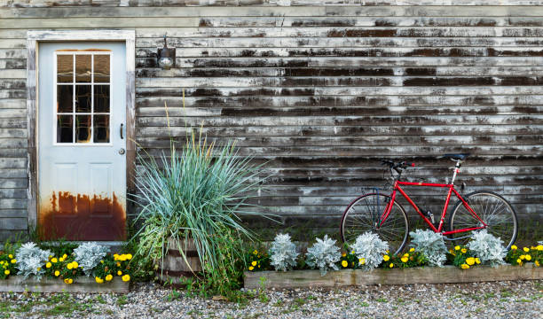 Door and Bike in Kennebunkport in Maine, USA. stock photo