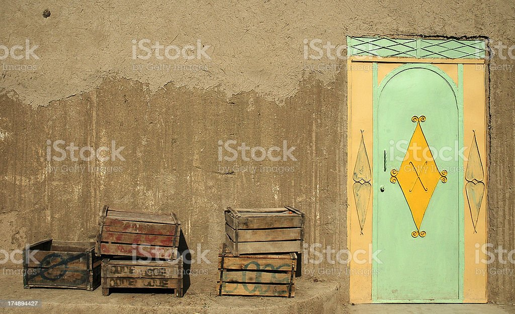 Door and crates royalty-free stock photo