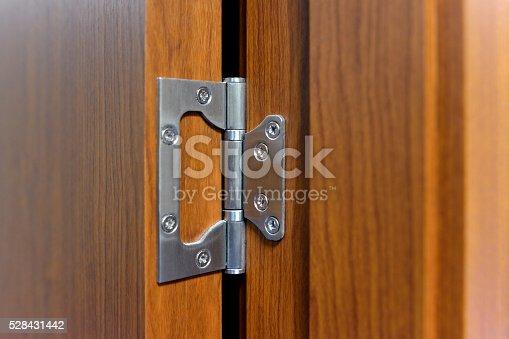 Close-up the door hinge on the door.