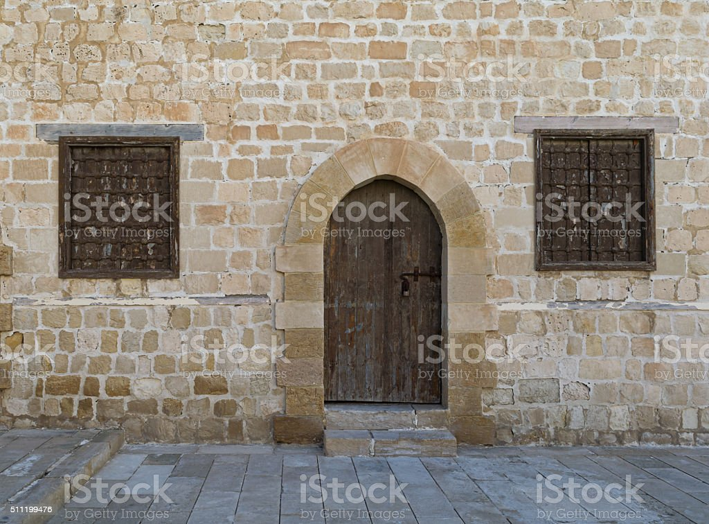 Door and windows, Courtyard of the Citadel of Alexandria stock photo