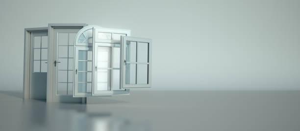 Door and windows selection stock photo