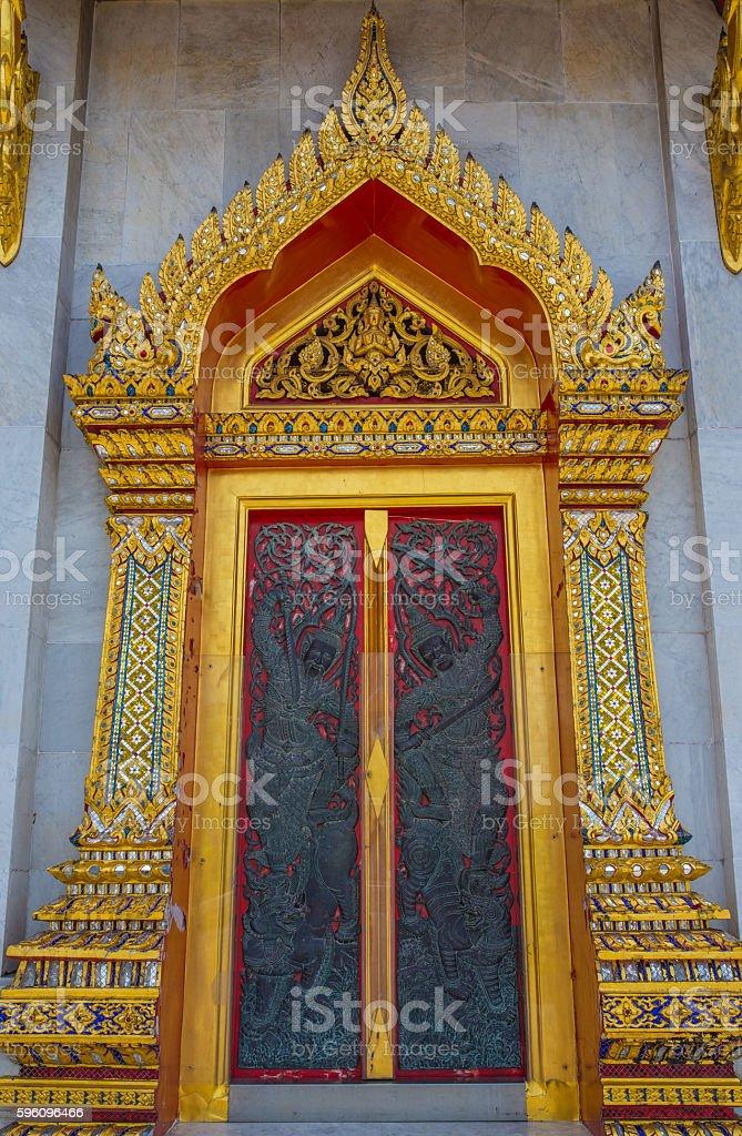 Door at Benjamabopit temple royalty-free stock photo