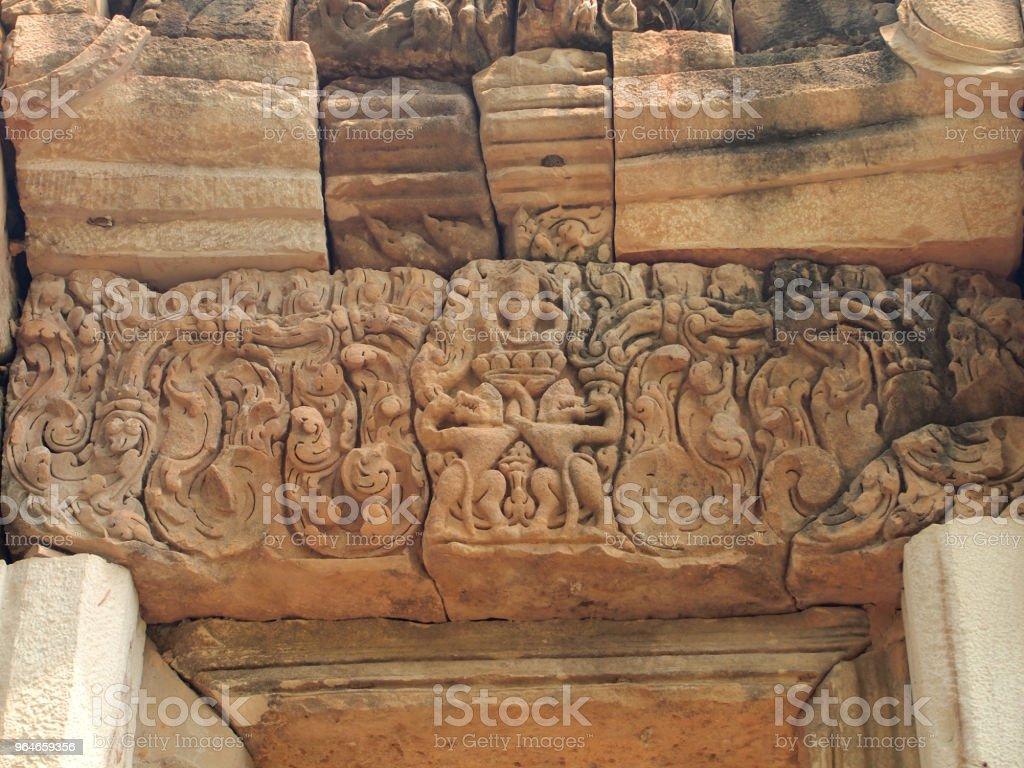 door at Prasat Sdok Kok Thom, Sa Kaeo, Khmer temple in Thailand royalty-free stock photo