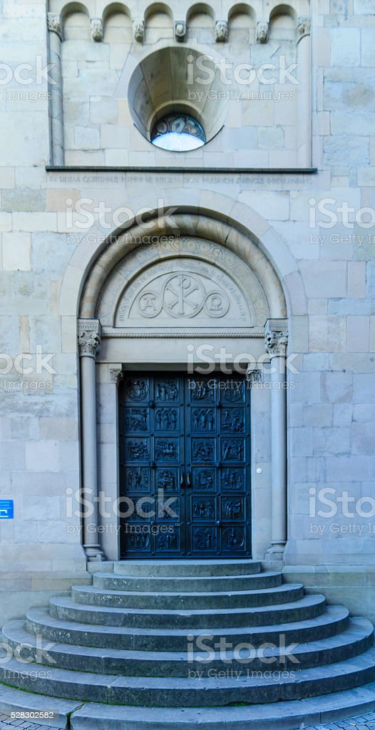 Door at the Grossmunster (great minster) Church, Zurich, stock photo