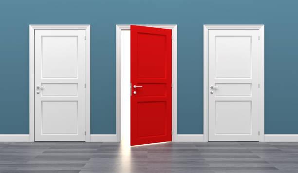 deur zakelijke bestemming opportuniteit exit verschillend - keus stockfoto's en -beelden