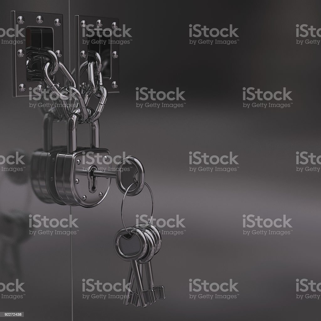 Door, Chain and Padlock royalty-free stock photo