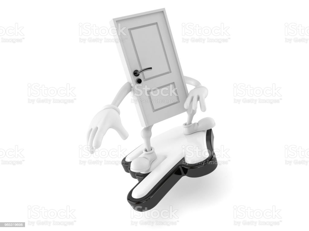 Door character surfing on cursor royalty-free stock photo