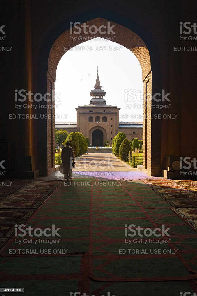 Door Courtyard Jama Masjid Mosque Srinagar royalty-free stock photo