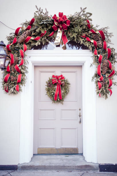 Door Decorated for Christmas stock photo