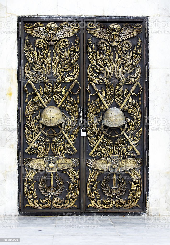 Door decorated with a symbol of the Marine Corps. royalty-free stock photo