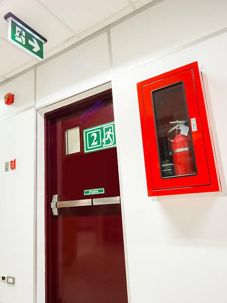 Door exit fire system stock photo