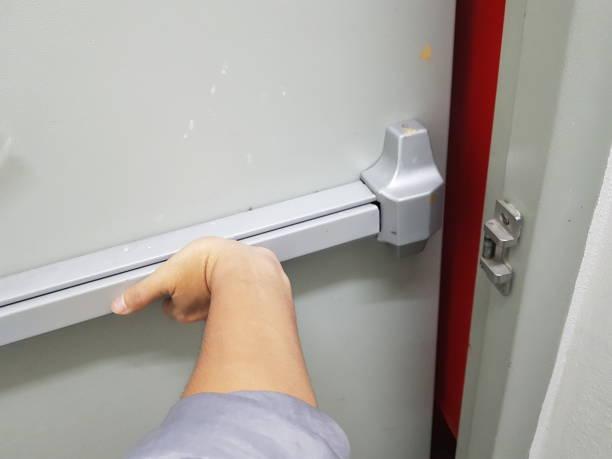 Door fire escape in a modern building stock photo