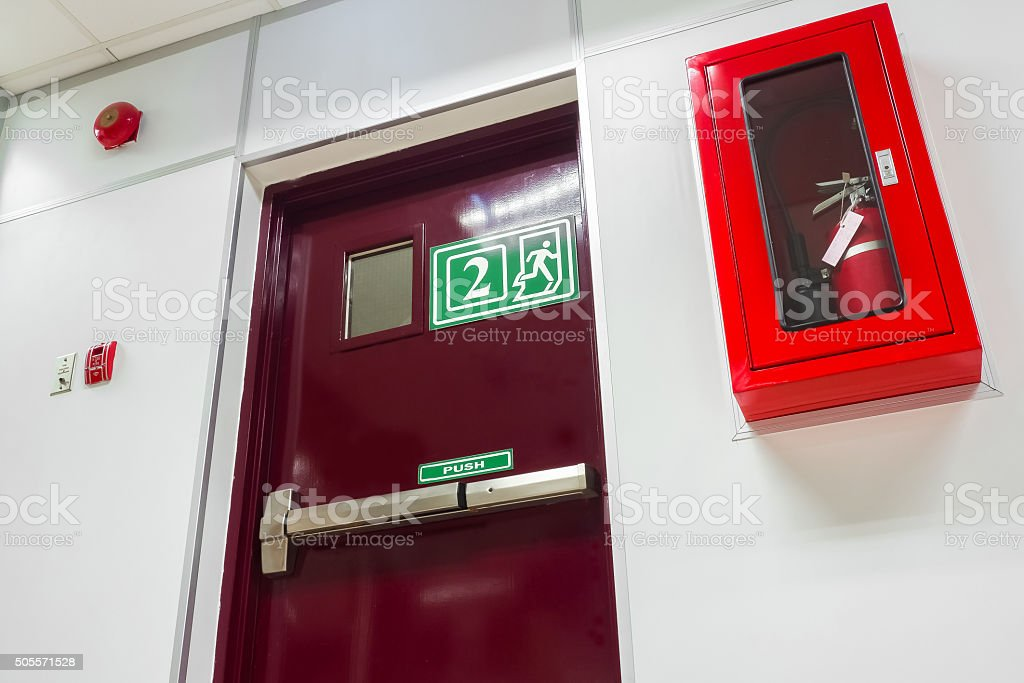 Door fire escape in a modern building stock photo