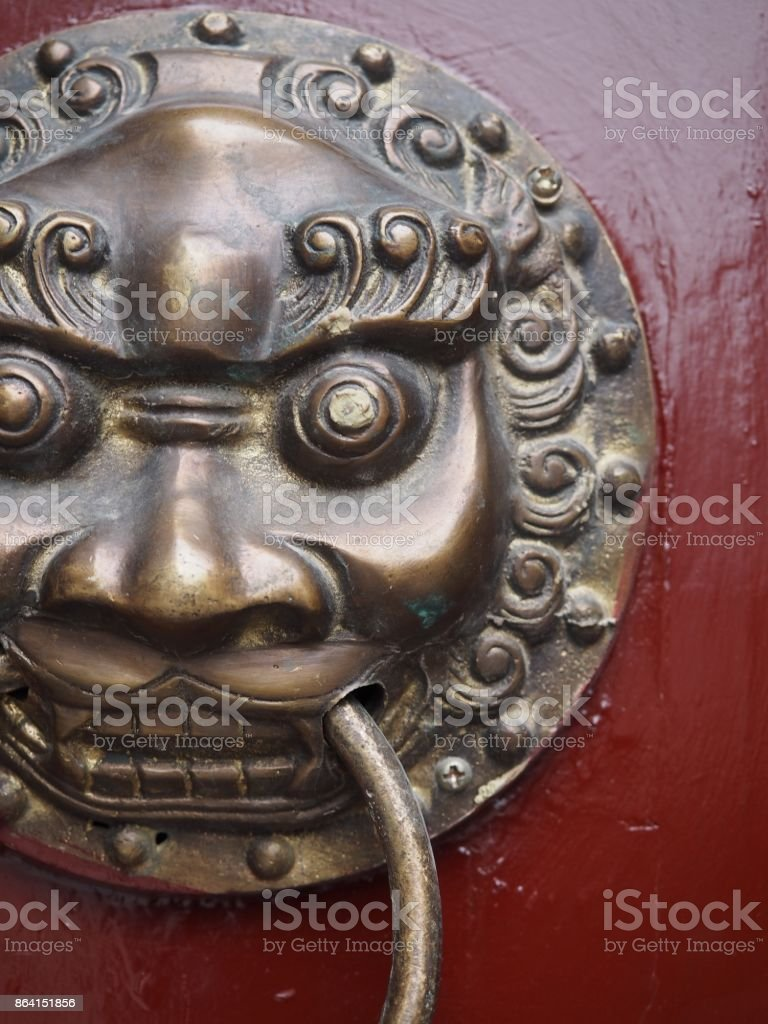 Door Handle on Red Door royalty-free stock photo