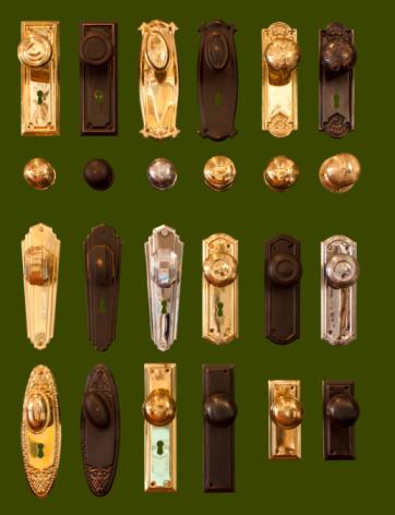Door handles display collection isolated on dark green background