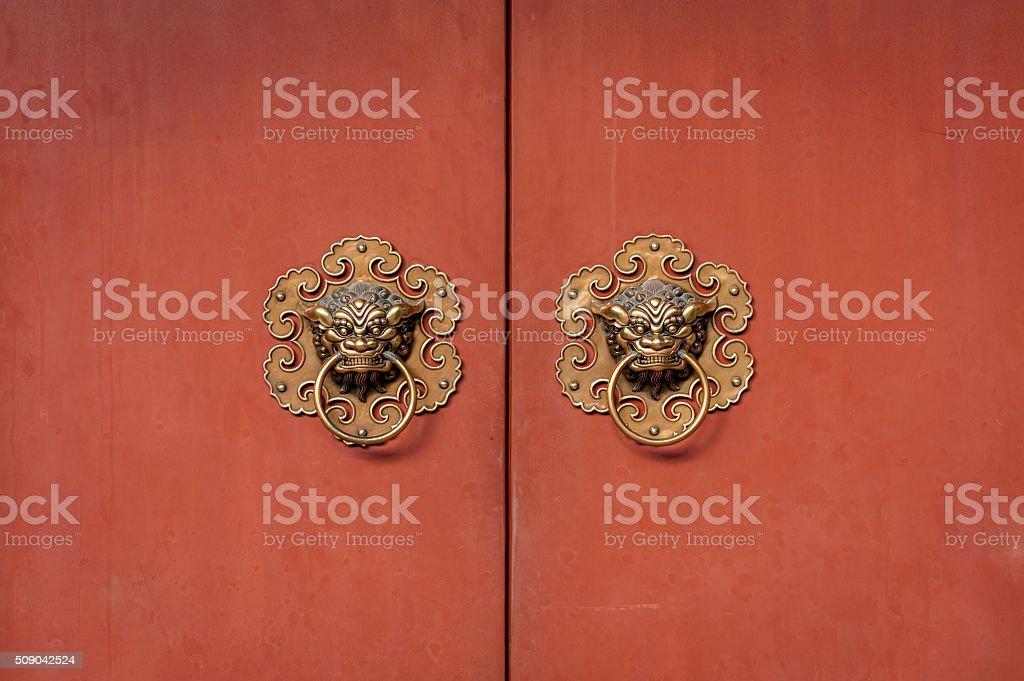 Door handles of Chinese temple stock photo