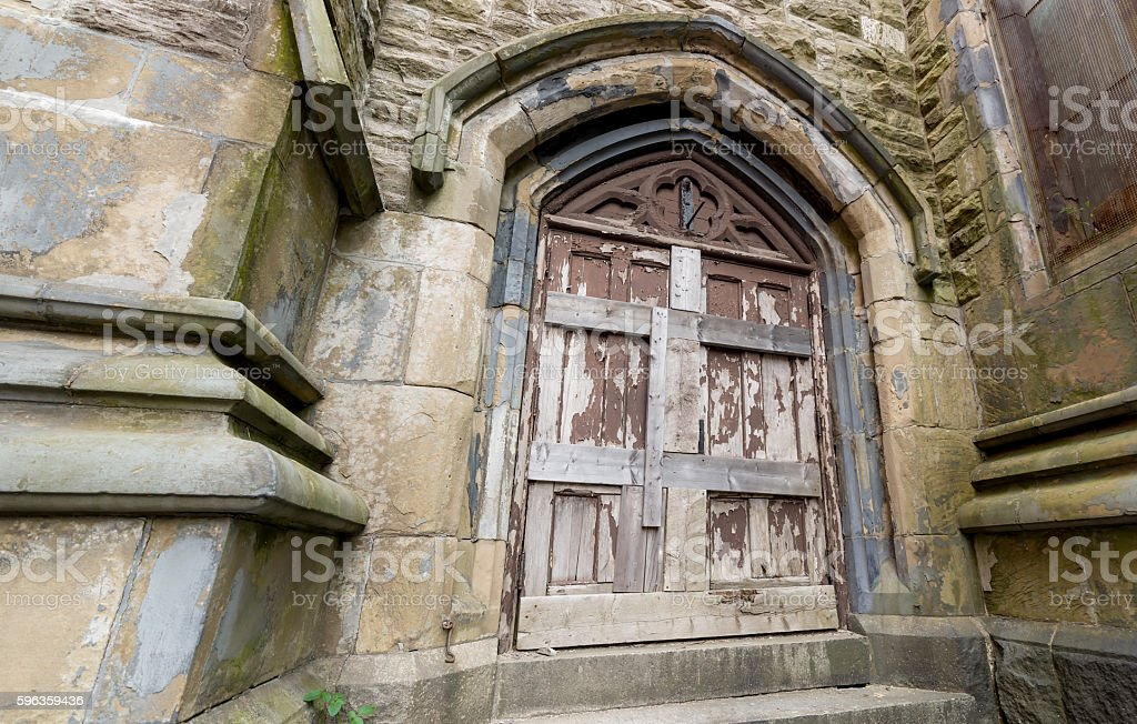 Door In Abandoned Church royalty-free stock photo