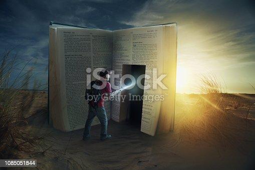A man discovers a door inside a Bible.