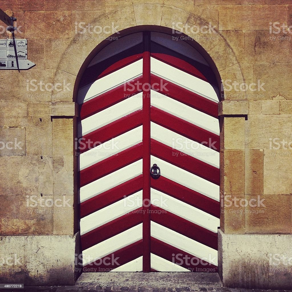 Door in Medieval town of Lake Murten stock photo
