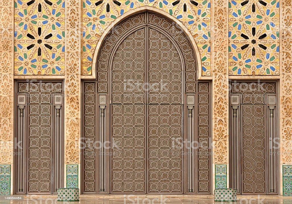 Door in Mosque Hassan II, Casablanca stock photo