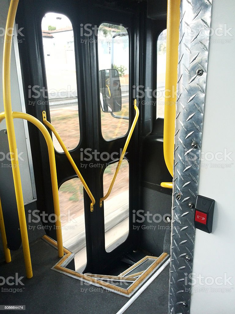 door in public transport bus stock photo