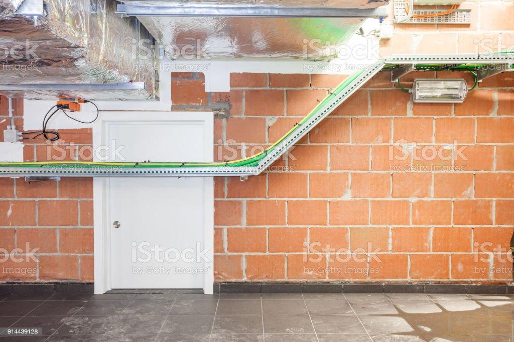 door in the technical area stock photo