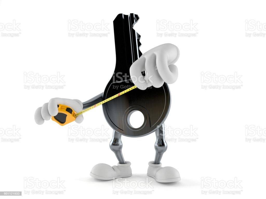 Kapı anahtar karakter holding teyp ölçme - Royalty-free Anahtar Stok görsel