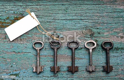 istock Door key with blank card among other ones 613211834