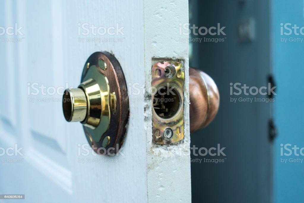 Door knob broken stock photo