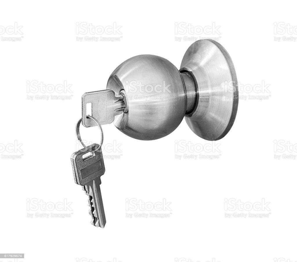 Door knob locks with keys isolate stock photo