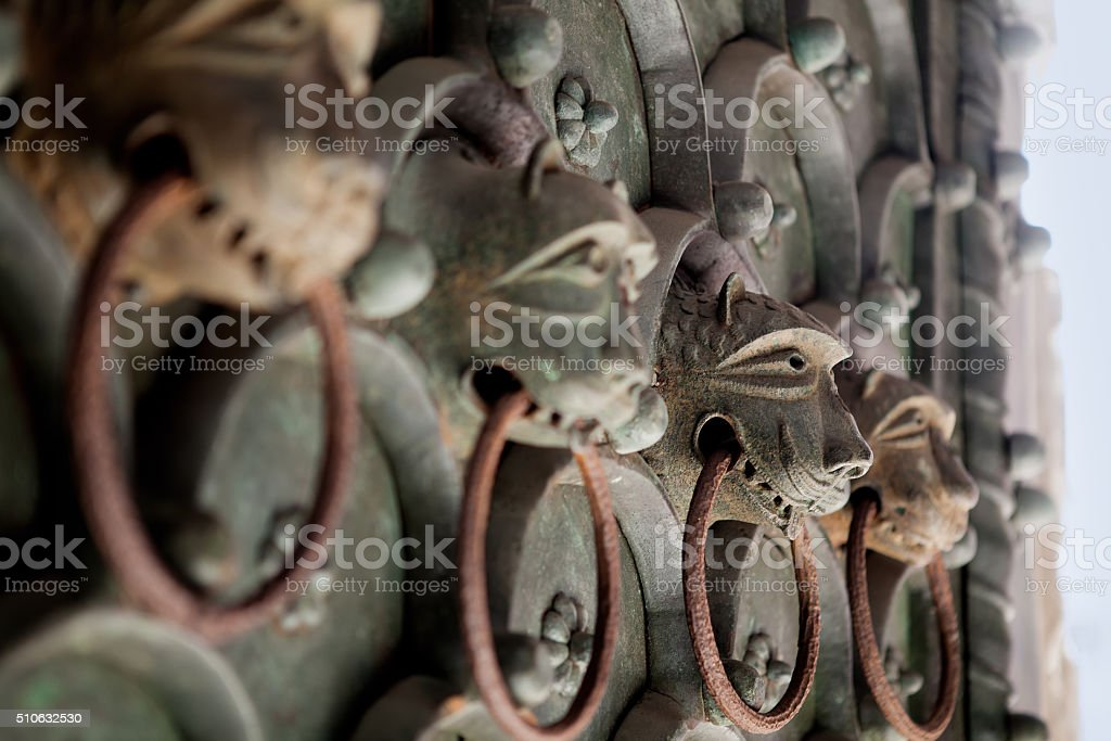 Door Knocker from the gate. Venice, Italy stock photo