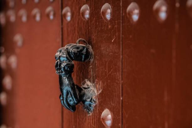 Door knocker, Medina, Marrakesh, Morocco stock photo