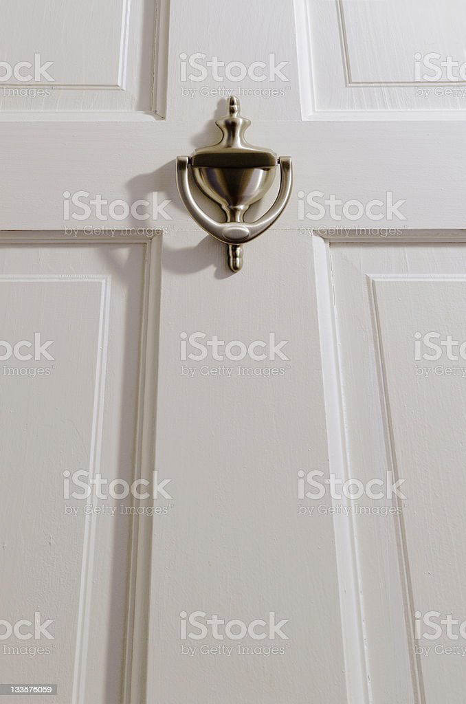 door knocker on new exterior entrance stock photo
