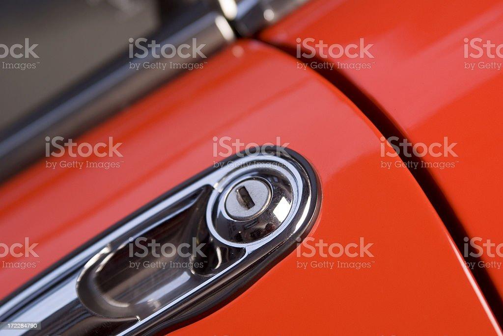 Door Lock Of A Red Sport Car stock photo