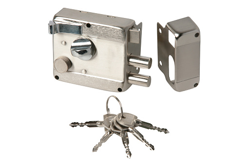 Stainless door  lock with keys isolated on a white background